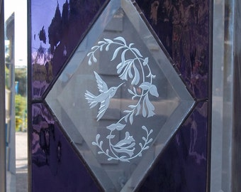 Stained Glass hummingbird Window Panel Floral beveled purple