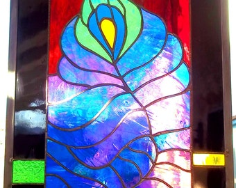 Stained Glass Window  Peacock Feather  Jewel Colors