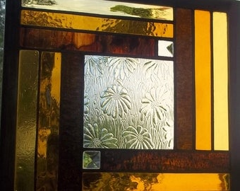 Stained glass window panel gold DAISY beveled glass ombre