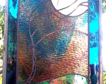 Stained Glass Window Panel Stormy Tree