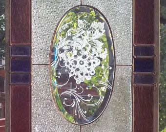 Stained Glass Window - Summer Vineyard grape panel