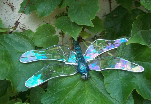 Dragonfly Suncatcher Irridescent Stained Glass with Hand Painted Body Home and Garden