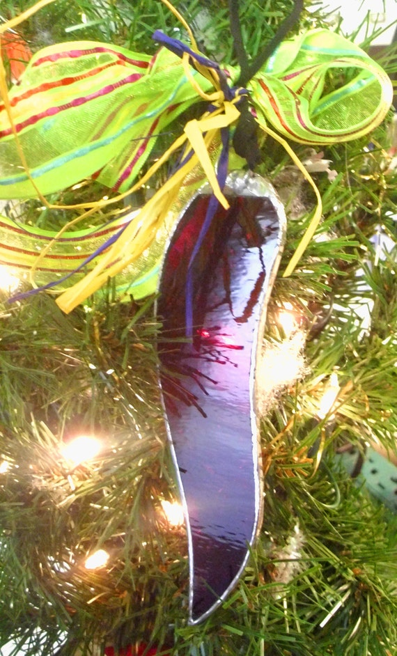 Stained Glass  Red Hot Chili Christmas Ornament