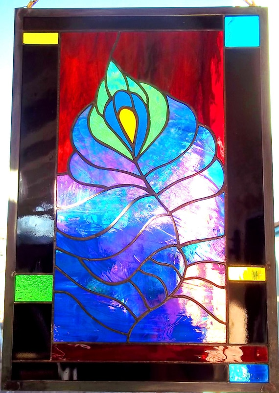 Stained Glass Window  Peacock Feather in Jewel Colors