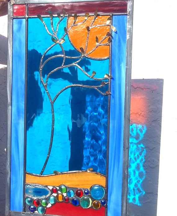 Stained Glass Window Panel falling leaves brilliant creek geode tree turquoise red