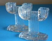 Vintage Candlesticks, Pair, Queen Mary Pattern, Art Deco, Depression Glass