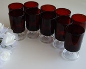 Ruby Red Luminarc Cavalier Glass Set - 10 pieces - Valentines Day Party, Wedding or Christmas