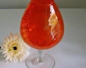 Sale, Vintage, Orange Vase, Crackle Glass, Mid Century, Art Glass, Glass Vase, Snifter Vase, Large Goblet, Bright Orange, Pop of Color