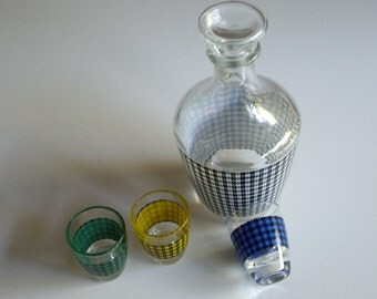 Sale, Vintage, Decanter Set, Shot Glass, Houndstooth, Set of 4, Made in France, January Sale, On Sale
