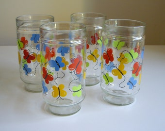 Sale, Vintage Drinking Glasses, Butterfly, Decorated Tumblers, Swanky Swigs, Set of 4, Anchor Hocking, Large Glasses, Tall Drinking Glasses