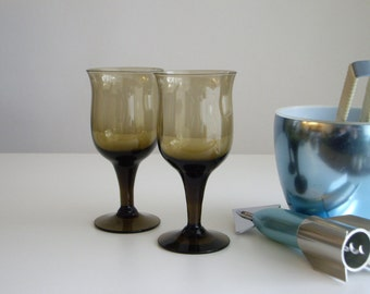 Vintage, White Wine Glasses, Mid Century, Smokey Brown, Vintage Barware, Set of 2