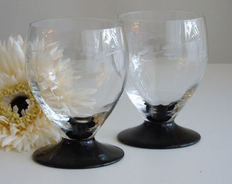 Sale, Vintage, Art Deco, Cocktail Glasses, Drinking Glasses, Black footed, Wheel Cut, Clear Glass Bowl, Stemless Wineglass, Old Fashioned