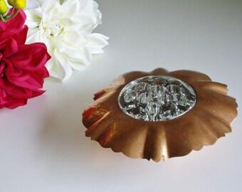 Vintage Glass Flower Frog or Florist Frog, Venetian Copper, Flower Arranging, Centerpiece, Vintage Wedding