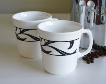 Vintage Corelle Lyrics Mugs - Black and White - Set of 2 Mugs