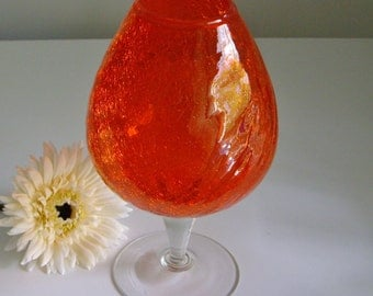 Vintage, Orange Vase, Crackle Glass, Mid Century, Art Glass, Glass Vase, Snifter Vase, Large Goblet, Bright Orange, Pop of Color, Statement