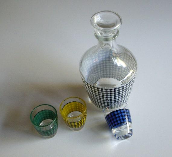 Vintage, Decanter Set, Shot Glass, Houndstooth, Set of 4, Made in France