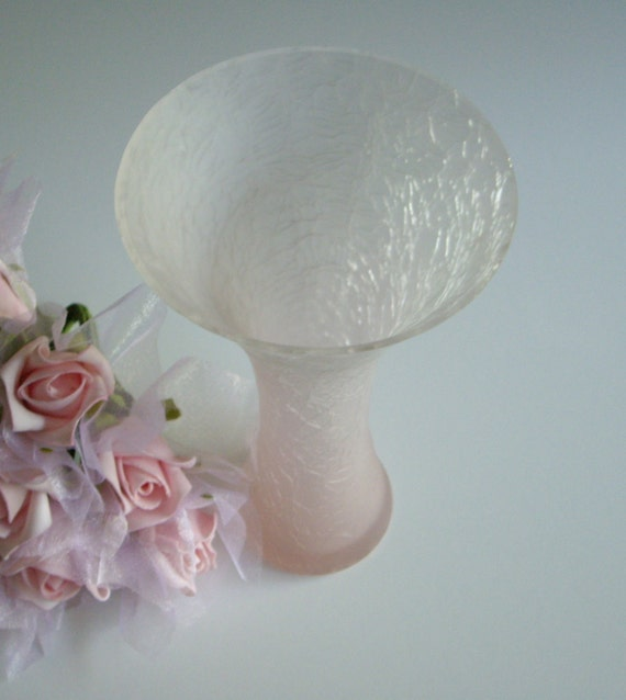 Vintage Pink Glass Vase - Frosted Pink Crackle Glass from the Eighties