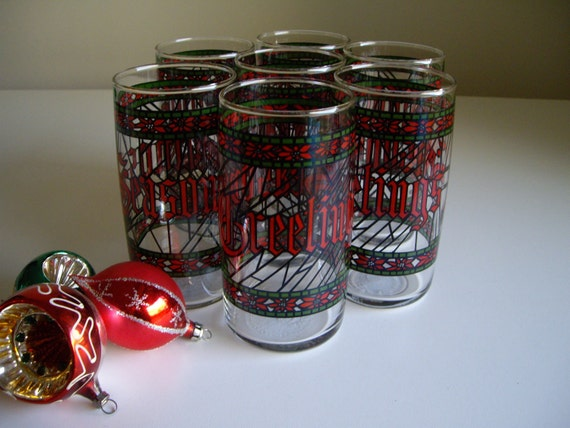 Christmas Holiday Houze Tumblers - Set of 7 Stained Glass Seasons Greetings by Anchor Hocking