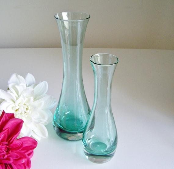 Teal or Aqua Glass Vases - Set of 2 - Murano Lead Crystal