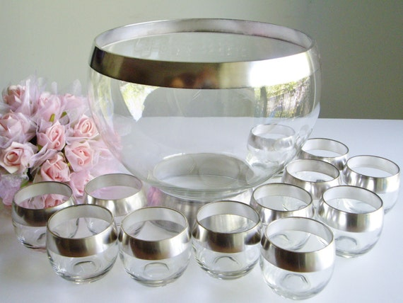 Punch Bowl - Dorothy Thorpe Silver Band Pattern Roly Poly Mid Century Modern Set of 12 Glasses - Mad Men Party, Wedding, Christmas