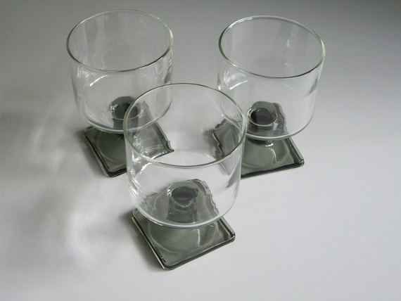Vintage Dessert Dishes - Federal Nordic Midnight - Gray Stemmed or Footed Square Base - Set of 3