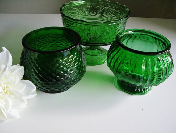 Vintage Emerald Green Glass Planters - EO Brody - Great for vintage wedding centerpieces