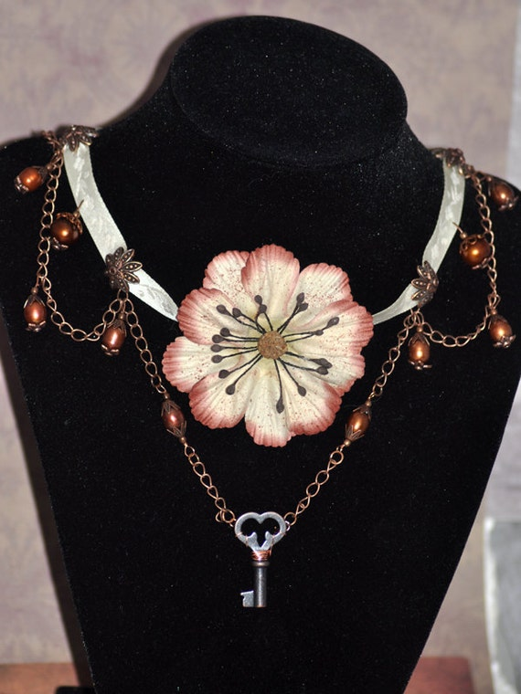 Antiqued Silk Flower and Bronze Colored Genuine Fresh Water Pearl Ribbon and Chain Choker with Skeleton Key Accent