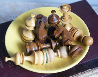 Wooden Chess Pieces. Salvage. Hand Carved. Collage Pieces.