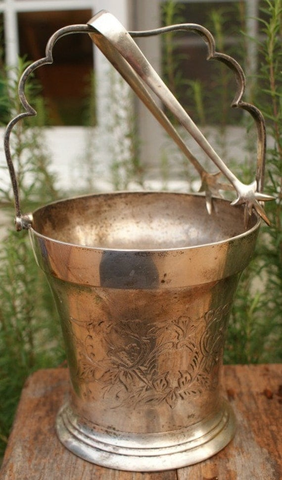 Vintage Silver Ice Bucket with Tongs Flower Pot Cachepot Vintage Container Compost Mini TrashCan