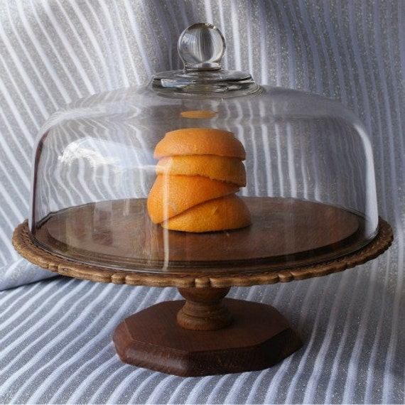 farm wooden cake stand with dome