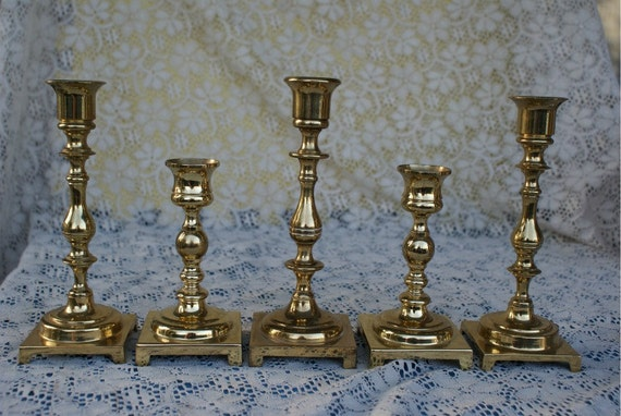 Hollywood Collection of Solid Brass Candleholders