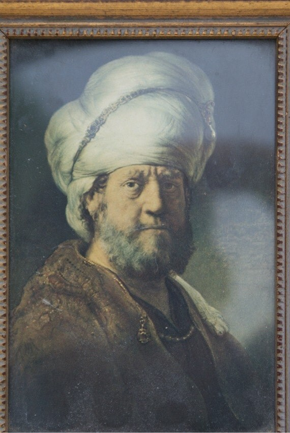 SALE Small Portrait of Turkish Man in Gilded Frame