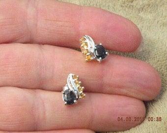 Fancy Citrine (unheated untreated)Sapphire Earrings