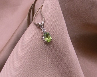 Peridot Pendant with White Sapphire Accent