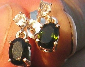 Dark Green(Unheated)Natural Tourmaline Dangle Earrings with White Sapphire Accents