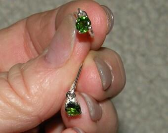 Emerald Green Diopside  Dangle Earrings