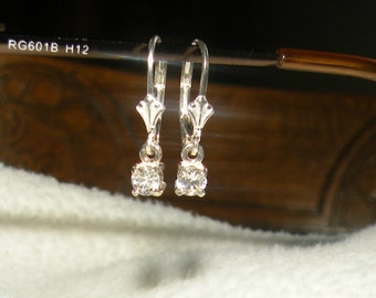 66tcw(.33ct each)Genuine White Sapphire Dangle Earrings
