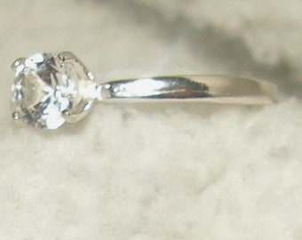 White Sapphire Engagement Ring Solitaire