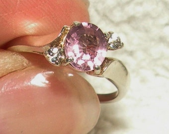 Pink Spinel with White Sapphire Accents