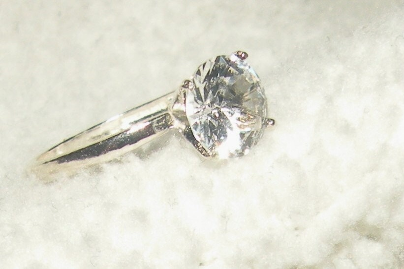 2 30ct white sapphire solitaire engagement ring