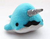 Narwhal Plush - with Mustache - Small - MADE-TO-ORDER (Choose colors)