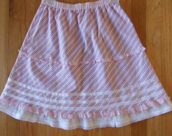 Pink cotton strips bias girls skirt , gathered pik skirt, size M pink skirt, ready to ship