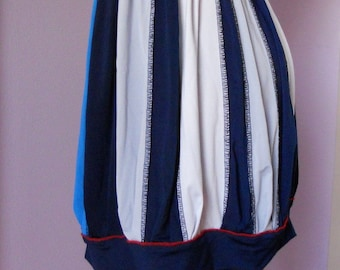 Navy, blue, white and grey jersey gathered in waist and cuffed on bottom skirt, size S skirt, ready to ship