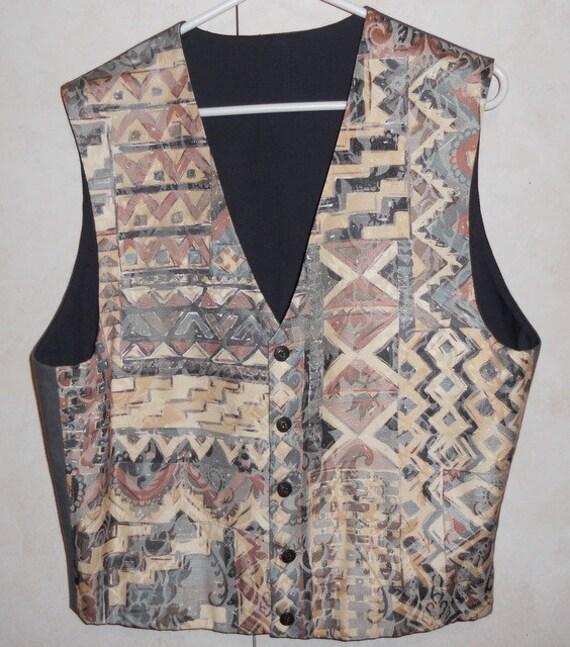 Men's vest -beige, grey jacquard tapestry, Size M, ready to ship