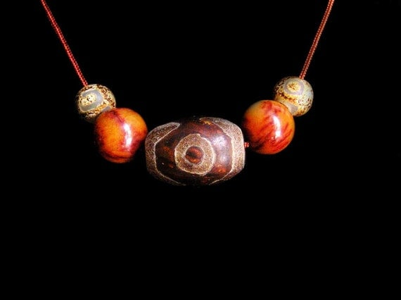 Ancient Tibetan Agate Dzi Bead Choker Necklace with Antique Jade and Ancient Agate Beads by NeoWare