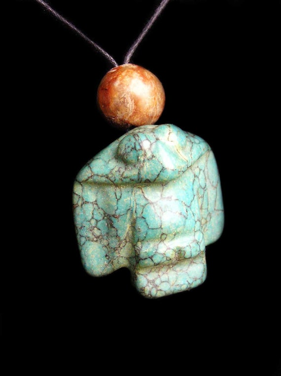 Ancient Turquoise Eagle Owl Bird Pendant with Antique Jade Beads by NeoWare