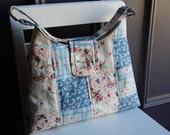 20% OFF Flare Cotton Tote - Patchwork Quilted Colors of Cream, Blue, Red and Olive Green