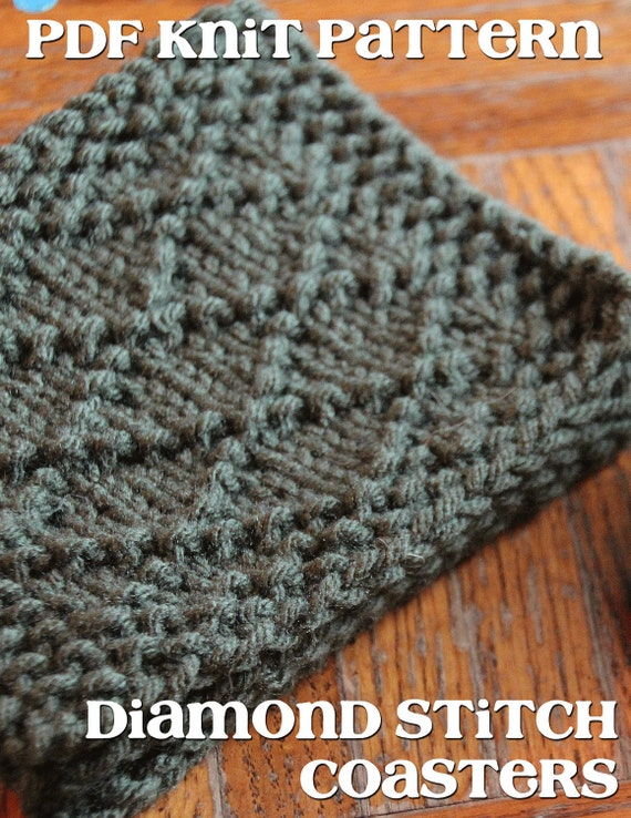 Knitted Coasters Free Patterns : Items similar to PDF Pattern Knit Diamond Stitch Coasters on Etsy