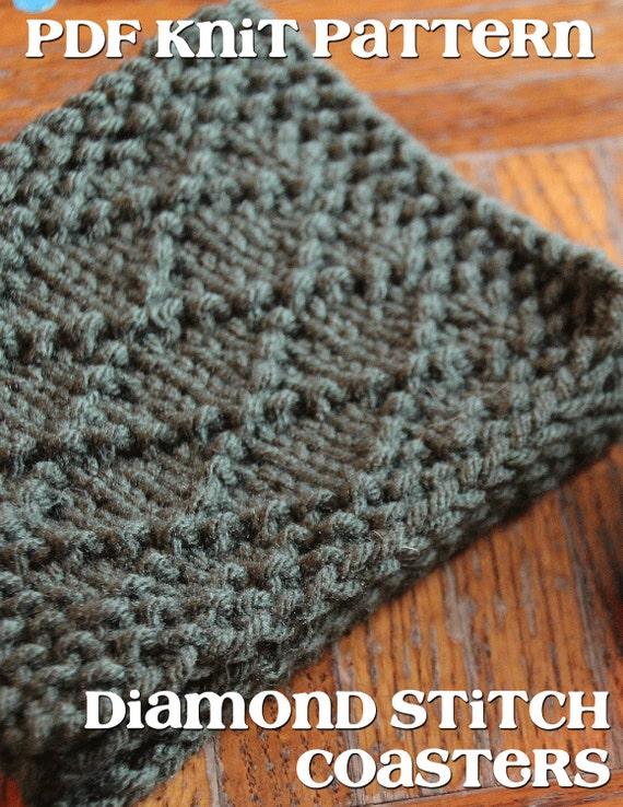 Knit Coaster Pattern : Items similar to PDF Pattern Knit Diamond Stitch Coasters ...