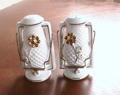 Vintage Tilso handpainted  white and gold trim lantern salt and pepper shakers No 52/703